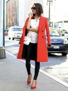 ZARA Red Long Double Breast Trench Style Coat